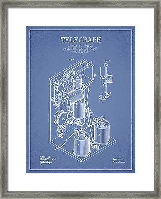 Thomas Edison Telegraph Patent From 1869 - Light Blue Framed Print by Aged Pixel