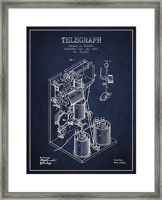 Thomas Edison Telegraph Patent From 1869 - Navy Blue Framed Print by Aged Pixel