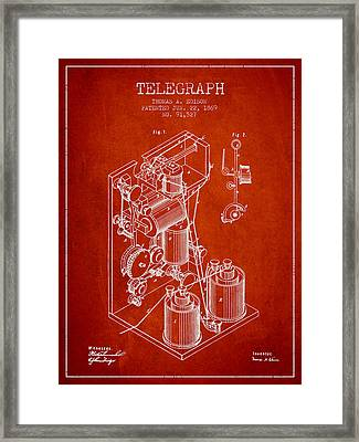 Thomas Edison Telegraph Patent From 1869 - Red Framed Print by Aged Pixel