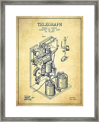 Thomas Edison Telegraph Patent From 1869 - Vintage Framed Print by Aged Pixel
