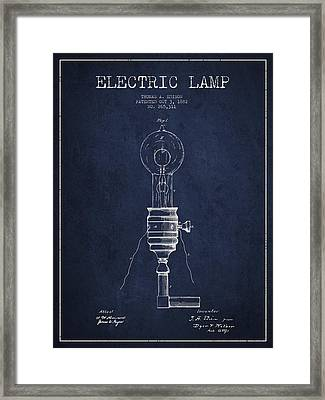Thomas Edison Vintage Electric Lamp Patent From 1882 - Blue Framed Print by Aged Pixel