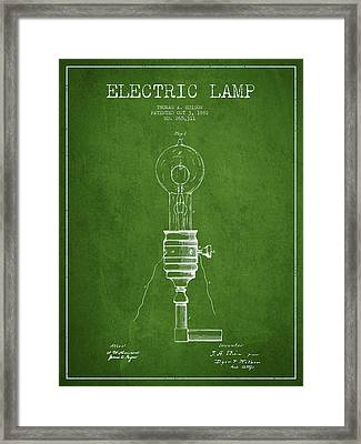 Thomas Edison Vintage Electric Lamp Patent From 1882 - Green Framed Print
