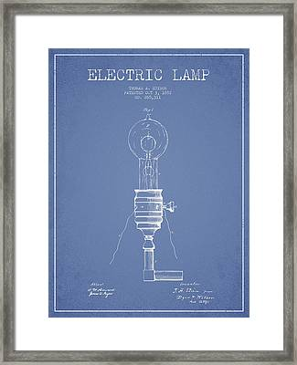 Thomas Edison Vintage Electric Lamp Patent From 1882 - Light Blu Framed Print by Aged Pixel