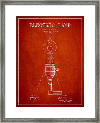 Thomas Edison Vintage Electric Lamp Patent From 1882 - Red Framed Print by Aged Pixel