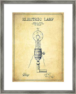 Thomas Edison Vintage Electric Lamp Patent From 1882 - Vintage Framed Print