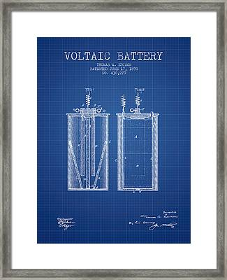 Thomas Edison Voltaic Battery Patent From 1890 - Blueprint Framed Print by Aged Pixel