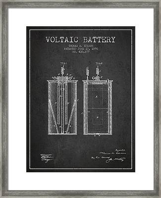 Thomas Edison Voltaic Battery Patent From 1890 - Charcoal Framed Print by Aged Pixel