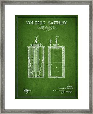 Thomas Edison Voltaic Battery Patent From 1890 - Green Framed Print by Aged Pixel