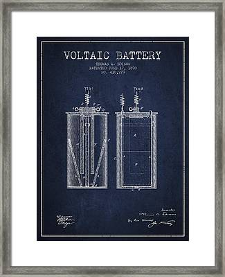 Thomas Edison Voltaic Battery Patent From 1890 - Navy Blue Framed Print by Aged Pixel
