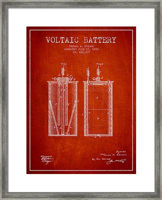 Thomas Edison Voltaic Battery Patent From 1890 - Red Framed Print by Aged Pixel