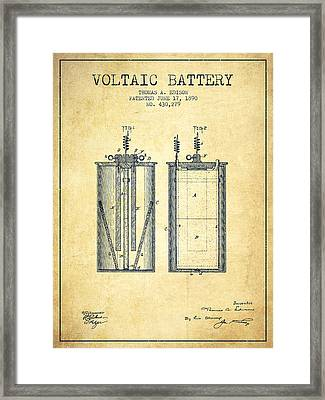 Thomas Edison Voltaic Battery Patent From 1890 - Vintage Framed Print by Aged Pixel