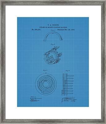 Thomas Edison's Dynamo Magneto Electric Machine Blueprint Patent Framed Print by Dan Sproul