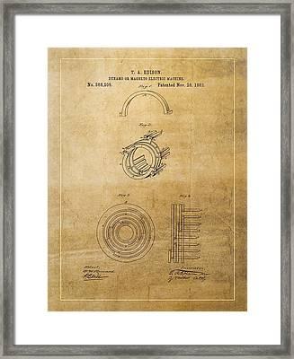 Thomas Edison's Generator Patent Framed Print by Dan Sproul