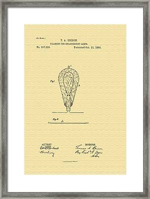 Thomas Edison's Lamp Filament Patent - 1884 Framed Print by Mountain Dreams