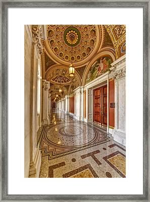 Thomas Jefferson Building Hallway Framed Print by Susan Candelario