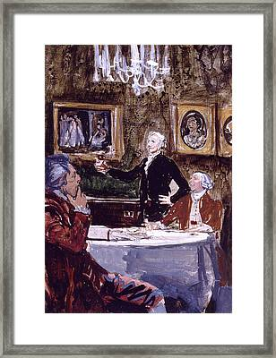 Thomas Jefferson Making A Toast Framed Print by Stanley Meltzoff / Silverfish Press