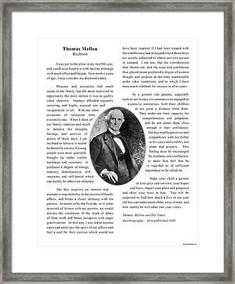Thomas Mellon On Boyhood Framed Print by Jacob Cane