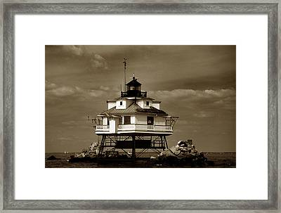 Thomas Point Shoal Lighthouse Sepia Framed Print