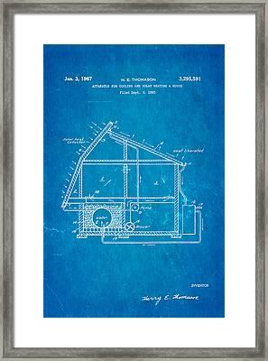 Thomason Green Energy Powered House Patent Art 1967 Blueprint Framed Print by Ian Monk