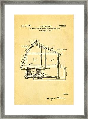 Thomason Green Energy Powered House Patent Art 1967 Framed Print by Ian Monk