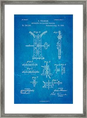 Thomson Electric Welding Patent Art 1886 Blueprint Framed Print