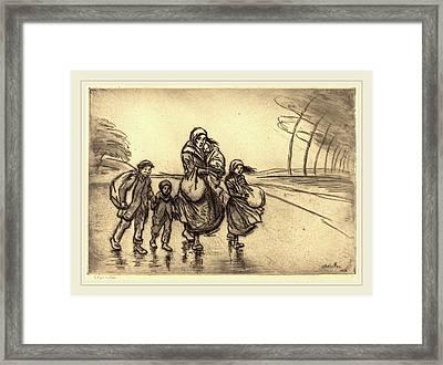 Théophile Alexandre Steinlen, In The Rain Mother Framed Print
