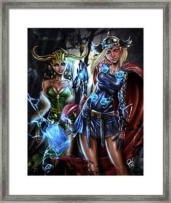 Thor And Loki Framed Print by Pete Tapang