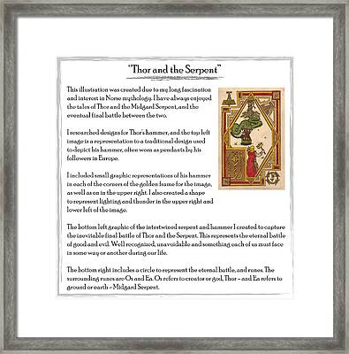 Thor And The Serpent Story Framed Print