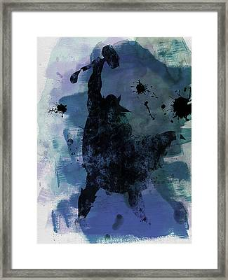 Thor Watercolor Framed Print by Naxart Studio
