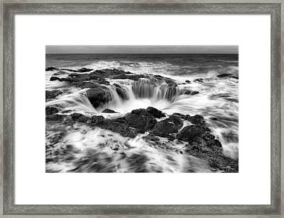 Thor's Well Monochrome Framed Print by Robert Bynum