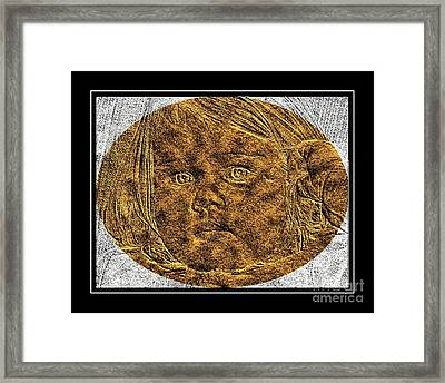 Beautiful Baby Girl - Brass Etching Framed Print by Barbara Griffin