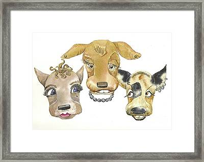 Those Girls Are Dogs. Framed Print by Donna Acheson-Juillet