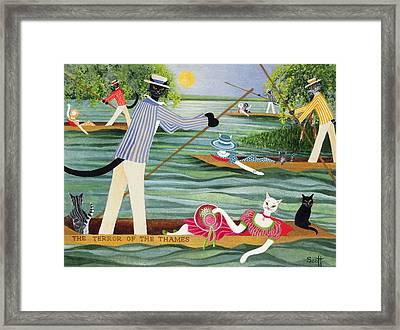 Those Summer Punts Oil On Canvas Framed Print by Pat Scott