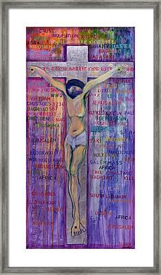 Thou Shalt Not Kill, 2000 Acrylic & Silver Leaf On Canvas Framed Print by Laila Shawa
