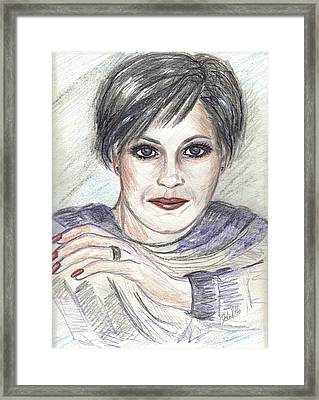 Framed Print featuring the drawing Thoughtful by Desline Vitto