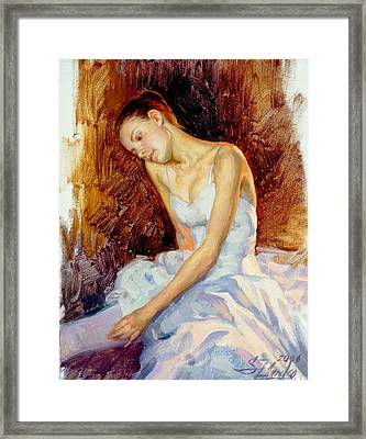 Thoughtful Young Ballerina Framed Print