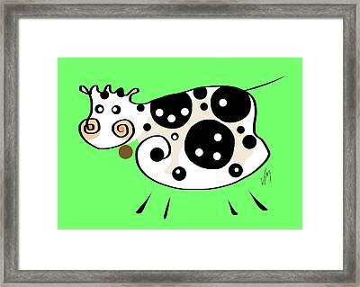 Thoughts And Colors Series Cow Framed Print