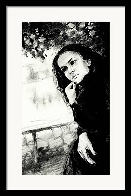 Woman With Black Hair Drawings Framed Prints