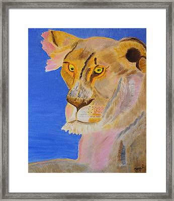 Thoughts Of A Feline Framed Print by Meryl Goudey