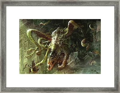 Thrashing Mossdog Framed Print by Ryan Barger