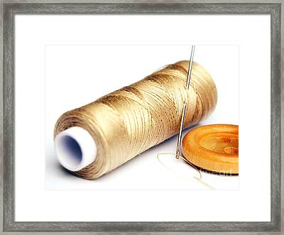 Thread And Button Framed Print by Sinisa Botas