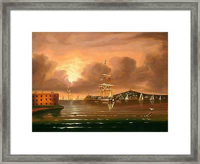 Threatening Sky. Bay Of New York Framed Print