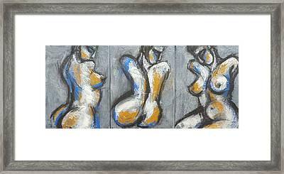 Three Abstracted Beauties - Triptych Framed Print by Carmen Tyrrell