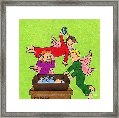 Three Angels And A Baby Framed Print