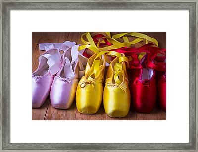 Three Ballet Shoes Framed Print by Garry Gay