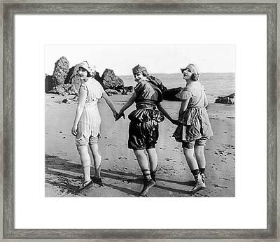 Three Bathing Beauties Framed Print by Underwood Archives