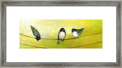 Three Birds On A Wire No 2 Framed Print by Jennifer Lommers
