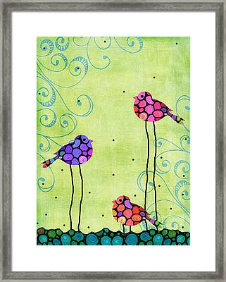 Three Birds - Spring Art By Sharon Cummings Framed Print