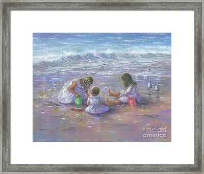 Three Blonde Beach Girls Framed Print