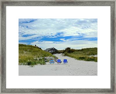 Framed Print featuring the photograph Three Blue Beach Chairs by Amazing Jules